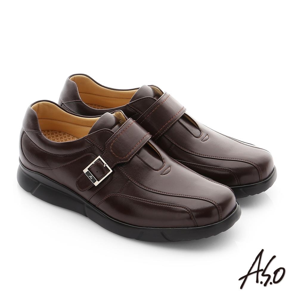 A.S.O 厚切氣墊 綿羊皮奈米魔鬼氈紳士休閒鞋 咖啡色