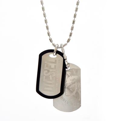 DIESEL 銀色陽剛款自我個性化軍牌項鍊