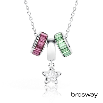 brosway Tres Jolie 施華洛世奇水鑽不鏽鋼項鍊 綠/紫/星