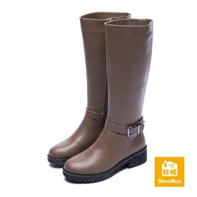 達芙妮DAPHNE-ShoeBox系列-長靴-方釦尖頭厚底粗跟長靴-咖啡8H