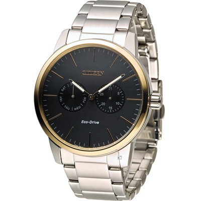 CITIZEN 星辰光動能穩重風範時尚腕錶(AO9044-51E)-黑x玫瑰金/44mm