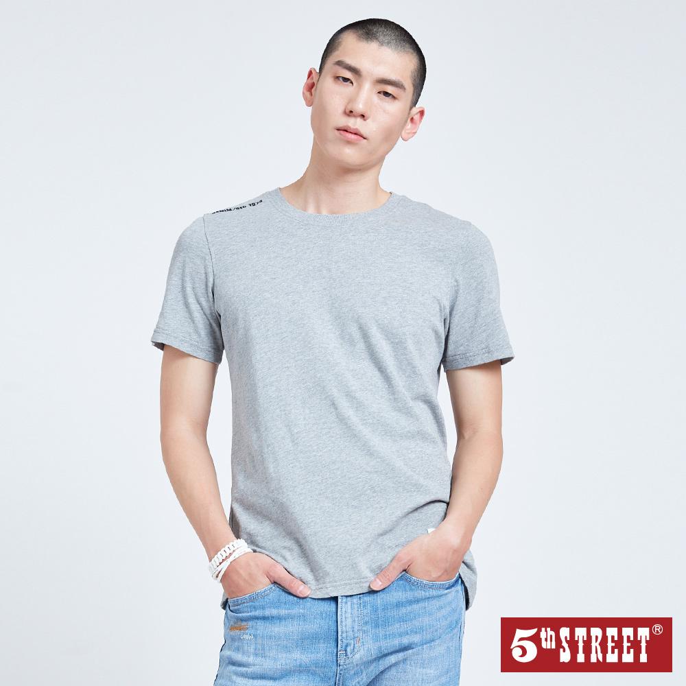 5th STREET 植絨LOGO圓領短袖T恤-男-麻灰