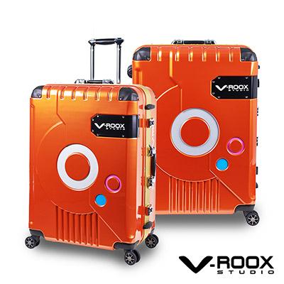 V-ROOX ZERO   28 吋 橘(金框)   時尚潮版 撞色太空艙 鋁框行李箱