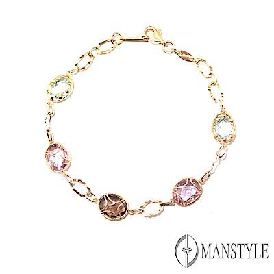 MANSTYLE 綺麗 義大利三色金手鍊