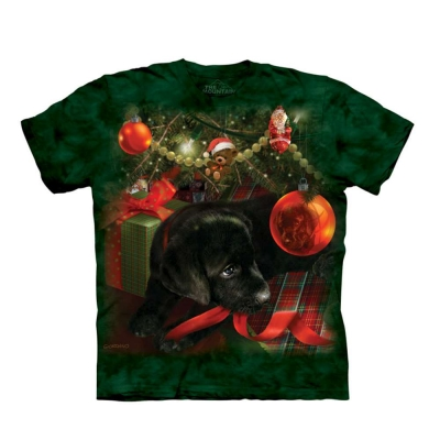 摩達客-美國The Mountain 聖誕小黑狗 兒童版純棉環保短袖T恤
