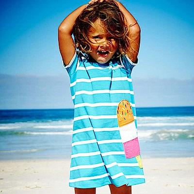 歐美春夏純棉兒童短袖長版T-條紋冰棒