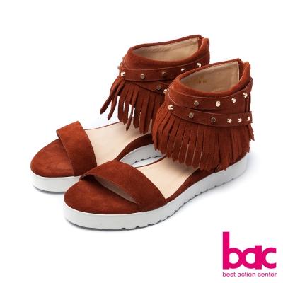 bac嬉皮摩登-流蘇纏繞鉚釘裝飾厚底台涼鞋-棕色