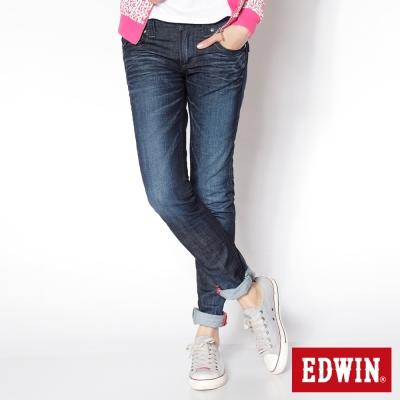 EDWIN MISS 503袋蓋窄直筒牛仔褲_女_酵洗藍