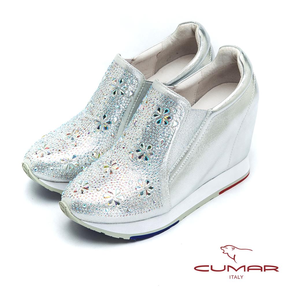 CUMAR優雅時尚 花朵水鑽內增高休閒鞋-銀