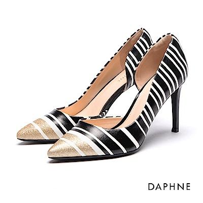 達芙妮DAPHNE 高跟鞋-撞色條紋金蔥挖空高跟鞋-黑
