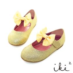 iki2童鞋-圓圓楦 亮粉蝴蝶平底鞋-金