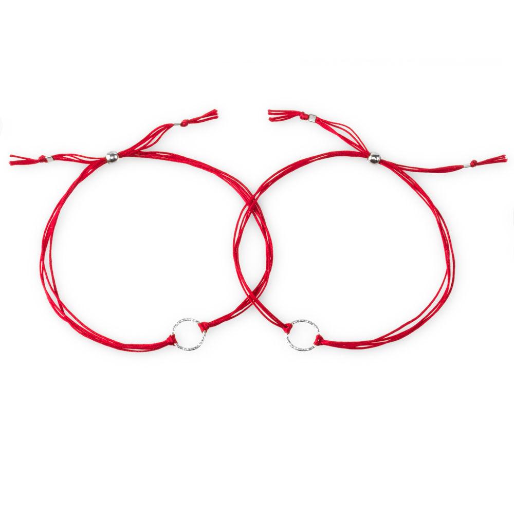 Dogeared 美國品牌 Karma 閃亮圓滿圈手鍊 銀墜紅線手鍊 對鍊套組