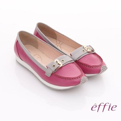 effie 趣味樂活 全真皮飾扣輕量休閒鞋 桃粉