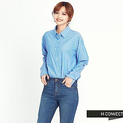 H:CONNECT 韓國品牌 女裝-後抽繩長版襯衫-藍