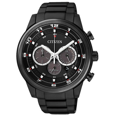 CITIZEN 撼動青春光動能三環計時腕錶(CA4035-57E)-IP黑/44mm