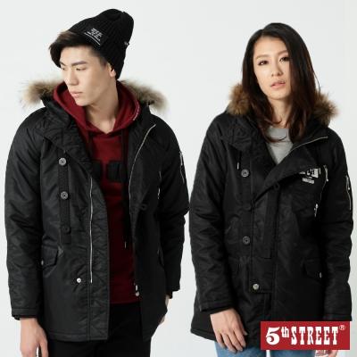 5th STREET 貼袋舖棉長版外套-中性-黑色