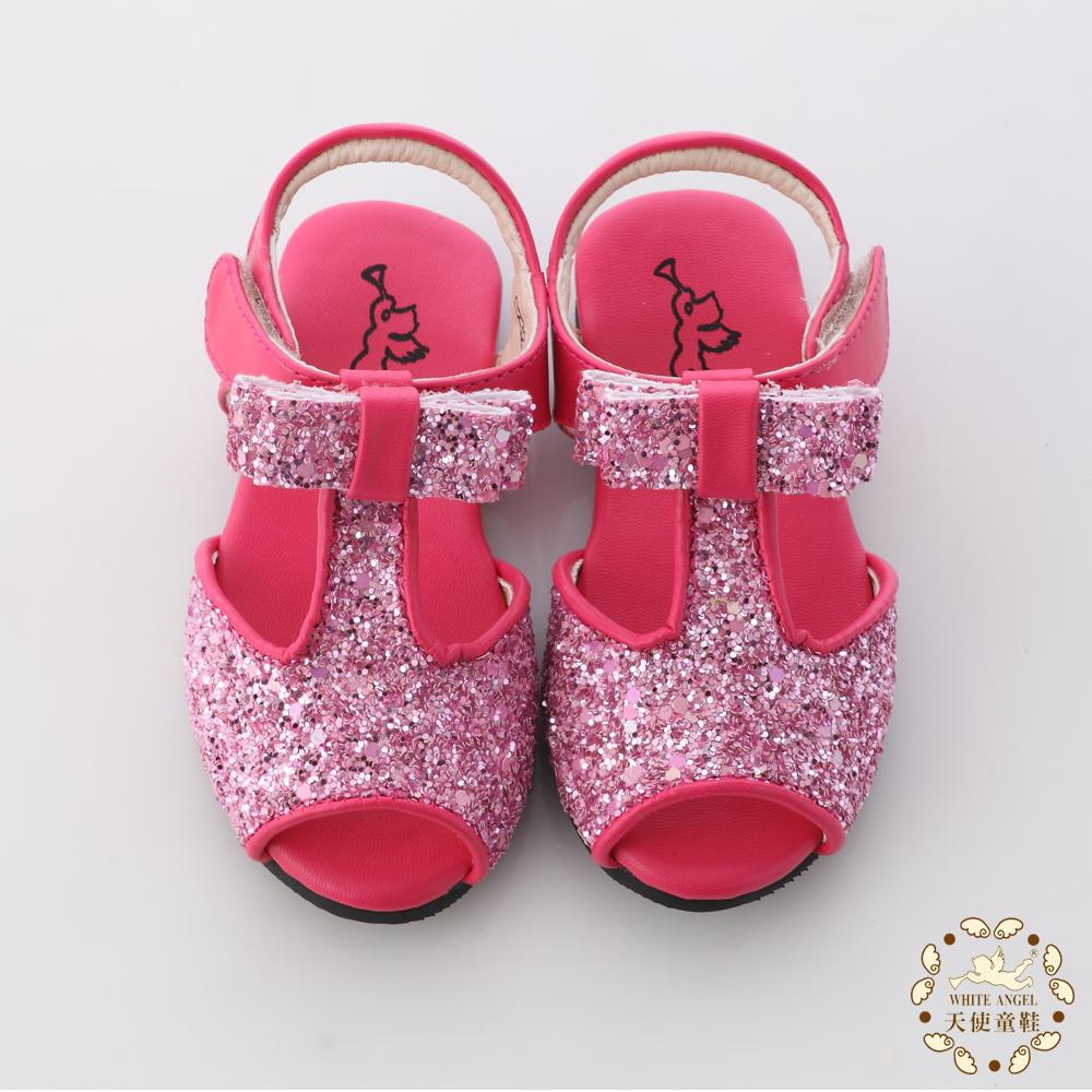 WhiteAngel天使童鞋-亮片蝴蝶結魚口涼鞋 蜜桃紅