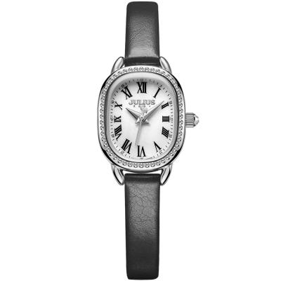 JULIUS聚利時 繁星圍繞復古設計皮帶錶-白x黑色/20.5X25mm