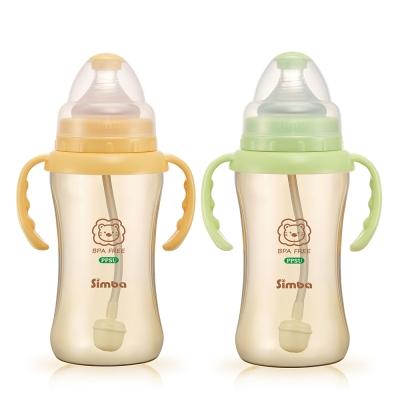 小獅王辛巴 PPSU自動把手寬口雙凹中奶瓶2支組(270ml)