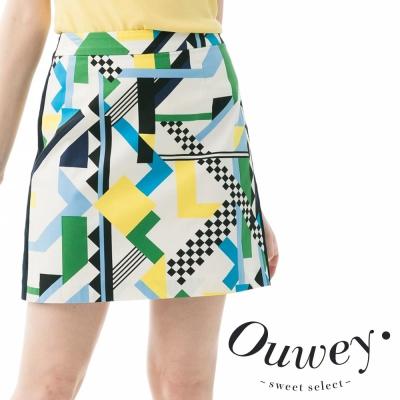 OUWEY歐薇-魔術方塊圖紋棉質A字裙