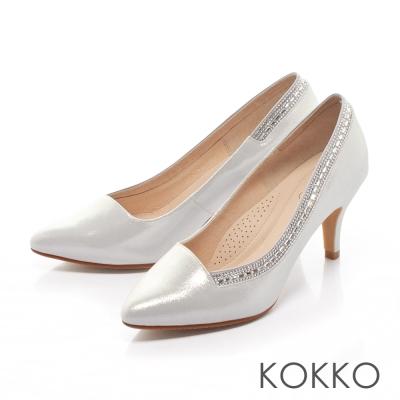 KOKKO-經典尖頭奢華鑽飾高跟鞋-光澤銀