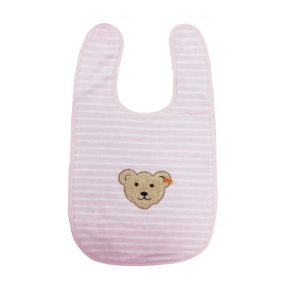 STEIFF德國金耳釦泰迪熊 - 粉紅橫條圍兜 (嬰幼兒衛浴系列)
