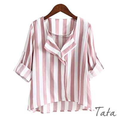 短版V領條紋棉麻上衣-TATA
