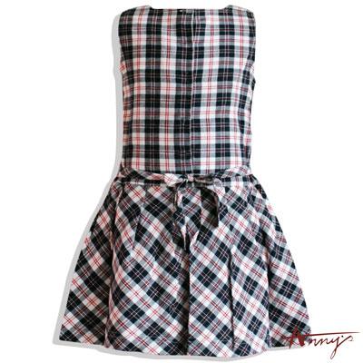 經典格紋腰帶百摺洋裝*1304藍