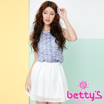 betty-s貝蒂思-愛心釦飾雪紡拼接無袖襯衫
