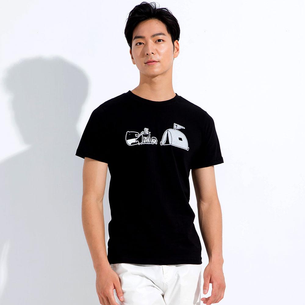 101原創 馬來貘-Camping圓領短袖T恤上衣-黑