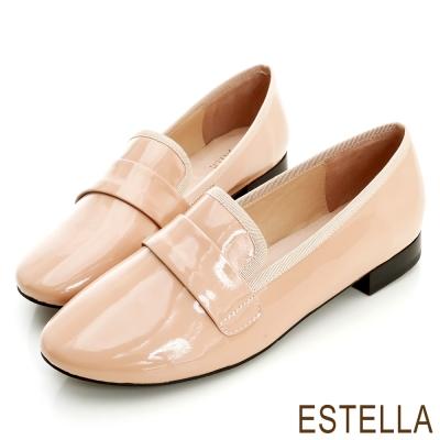 ESTELLA-都會風采-羊漆皮織帶滾邊樂福紳士鞋
