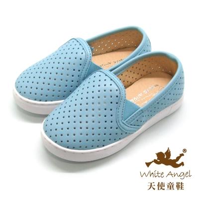 天使童鞋-D426B 中性百搭洞洞親子鞋(中-大童)-藍