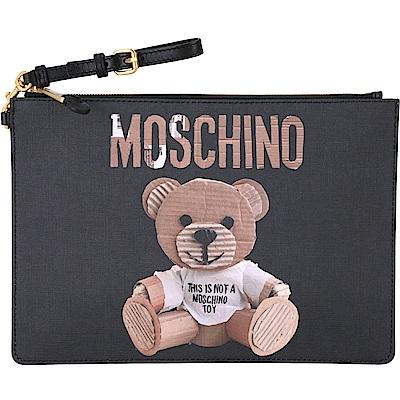 MOSCHINO 瓦楞泰迪熊圖騰大型手拿扁包(黑色)