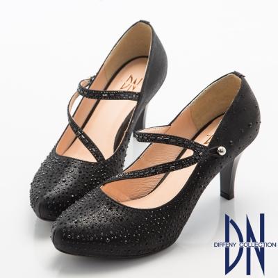 DN-高貴華麗-耀眼鑽飾珠光晚宴高跟鞋-黑