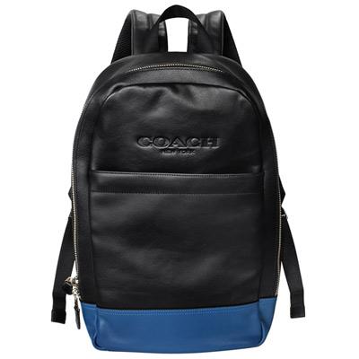 COACH黑藍雙色全皮拼接後背電腦包-男包-大