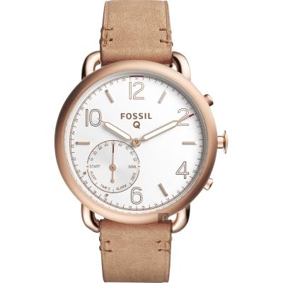 FOSSIL Q Tailor 智慧型多功能腕錶(FTW1129)-銀x卡其/40mm