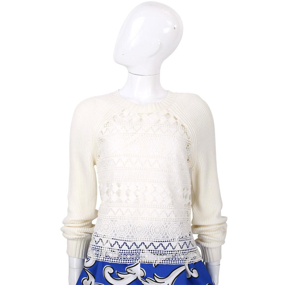 PHILOSOPHY 米色縷空織花拼接長袖粗針織上衣(附內襯)