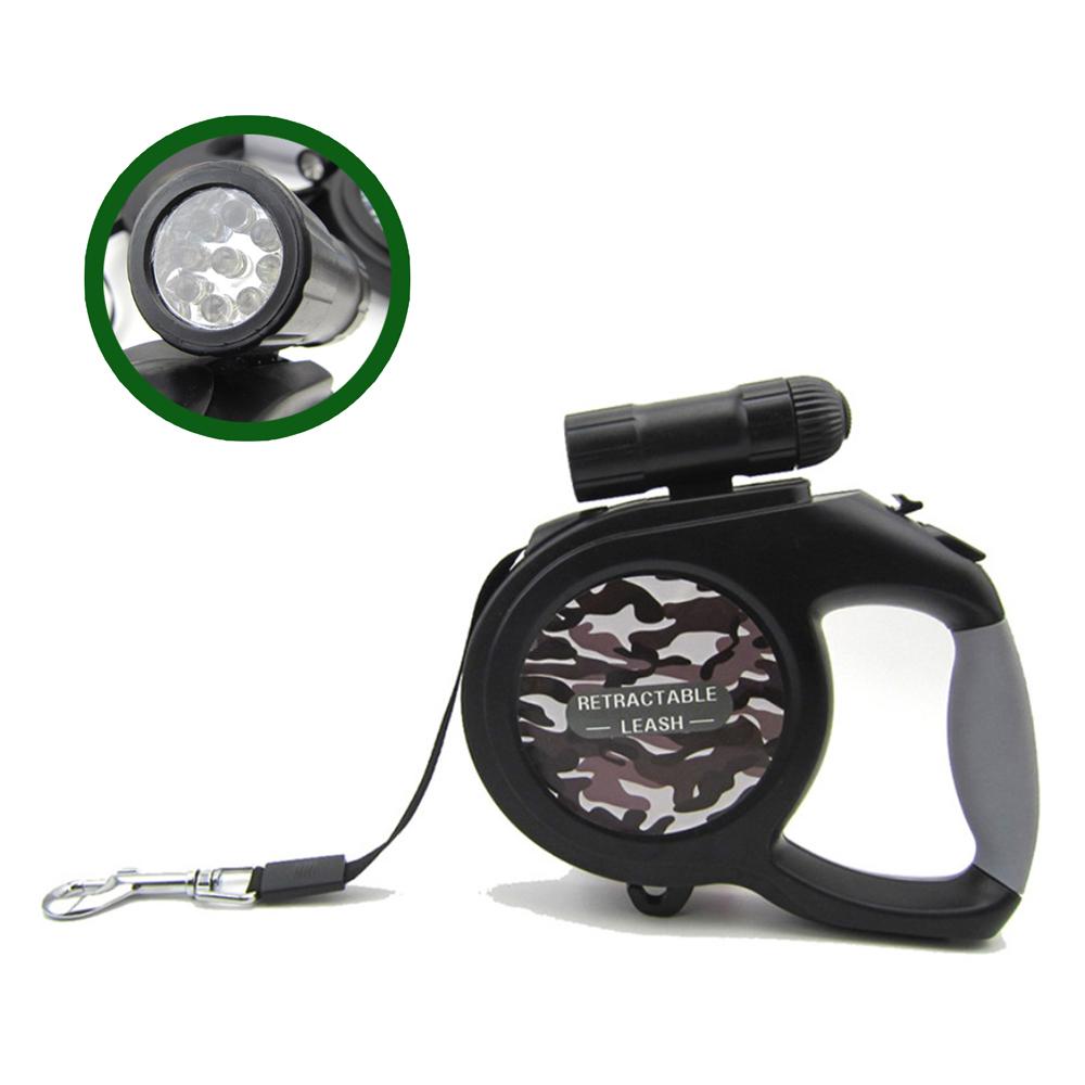 摩達客 可拆式9燈LED超亮手電筒寵物自動伸縮牽繩(灰迷彩/5米長/30KG以下適用)
