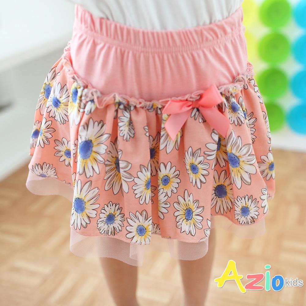 Azio Kids-滿版花朵拼接網紗褲裙(粉)