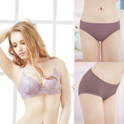內衣-唯美簡約蕾絲ABC內衣-高貴紫-1-1件組-可蘭霓Clany