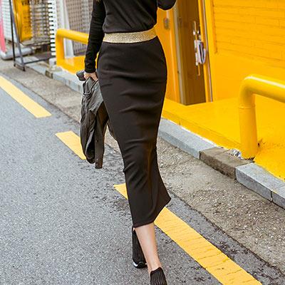 正韓 金蔥寬腰圍後開衩素面長裙 (共二色)-N.C21