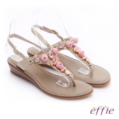 effie個性涼夏 真皮花飾寶石小坡跟T字涼鞋 米色