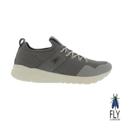 Fly London(男) 愛飛的男孩 輕透氣網紋真皮免綁帶運動鞋 - 雙灰