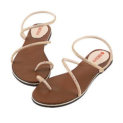 BESO 夏豔狂放 燙鑽繞指金屬邊涼鞋~米色