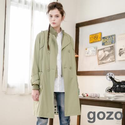 gozo-拉鍊雙排釦大口袋長版外套-中綠