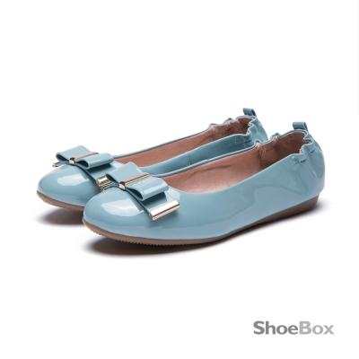 鞋櫃ShoeBox 平底鞋-蝴蝶結鬆緊帶圓頭娃娃鞋 1016404431 -淺藍