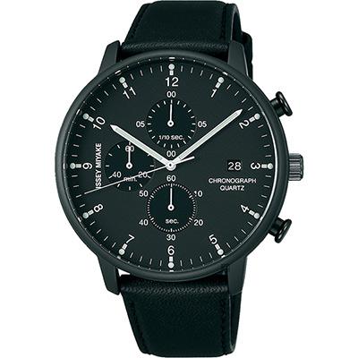 ISSEY MIYAKE 三宅一生 C 系列計時手錶(NYAD007Y)-黑框黑帶/42mm