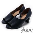GDC-秋冬款真皮溫柔造型魚口鞋-藍色