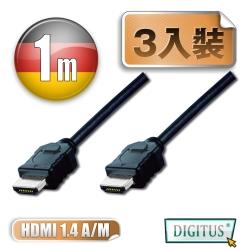 曜兆DIGITUS HDMI 1.4a圓線1公尺typeA-3入裝