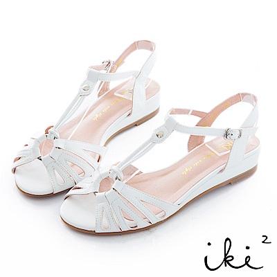iki2 甜美一夏 復古撞色小坡跟鞋-白